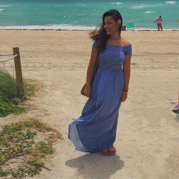 Blue stripes summer dress